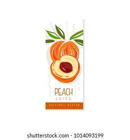 Original fruit promo banner with sweet peach. Hand drawn label for juice, jam or yogurt packaging. Natural vegan nutrition. Summer beverage. Colorful vector design