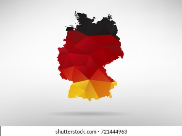 Original German map vector illustration with abstract flag background