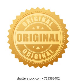 Original gold seal icon vector illustration isolated on white background