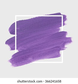 Original grunge brush paint texture design logo acrylic stroke poster over square frame vector. Rough paper hand painted vector. Perfect element design for headline, logo and banner.