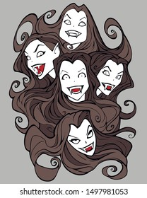 Original Halloween illustration of a group of beautiful evil vampire sisters with long dark hair and sinister smiles