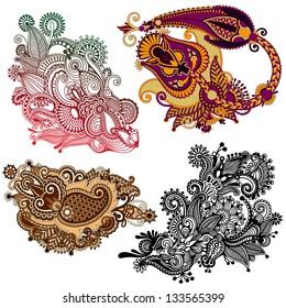 original hand draw line art ornate flower design. Ukrainian traditional style. Vector set
