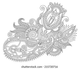 Original Hand Draw Line Art Ornate Flower Design Ukrainian Traditional Style Black And White