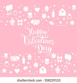 "Original hand lettering ""Happy Valentine's day"" with Valentine's day symbols. Template of Valentine's day poster, icon, Valentine's day greeting card, Valentine's day print and web projects."