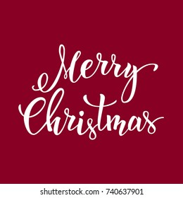 """Original hand lettering """"Merry Christmas"""". Vector illustration for Christmas posters, icons,  greeting cards, print and web projects."""