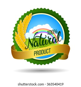 Original hand lettering Natural and eco food design elements. Organic, bio, natural food design template. Colorful patterns for advertising. Can be use for logo, poster, icon, print and web projects.