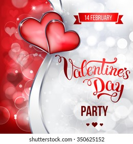 "Original hand lettering ""Valentine's day party"". Vector illustration for Valentine's day posters, icons, Valentine's day greeting cards, Valentine's day print and web projects."