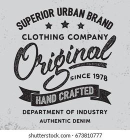 Original hand written lettering label, badge, emblem. Denim wear.Apparel design for tee print. Grunge texture. Vector illustration