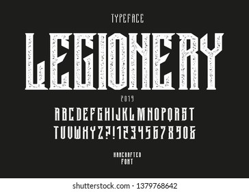 Original handcrafted alphabet. Vintage font design. Rock Typeface.  Alcohol beverage label design. In heavy music and others.