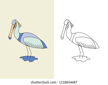 Original hand-drawn Eurasian spoonbill then vectorised and digitally coloured. The strokes and shapes are fully editable.