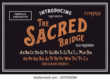 Original handmade alphabet. Vintage font design. Typeface. Vector.
