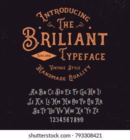 Original handmade alphabet. Vintage font design. Vector.