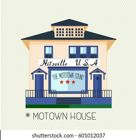 Original home of Motown Records, founded by Barry Gordy. Vector Flat Illustration.