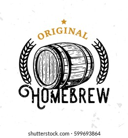 Original homebrew retro badge with wooden barrel. Beer themed symbol in vintage style