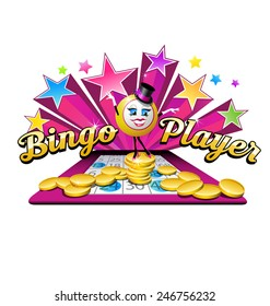 original illustrated bingo ball character with coins, stars, bingo card and text