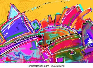 original illustration of abstract art digital painting, vector version