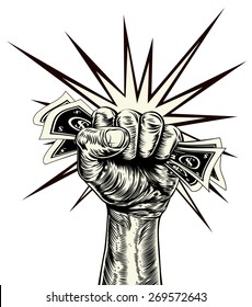An original illustration of a dynamic fist holding money in a vintage wood cut propaganda style