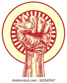 An original illustration of a fist held in the air in a vintage wood cut propaganda style
