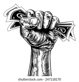An original illustration of a fist holding money in a vintage wood cut propaganda style