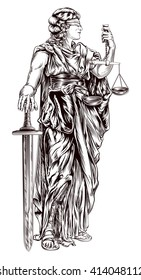 An original illustration of Lady Justice holding scales and sword and wearing a blindfold in a vintage woodblock style