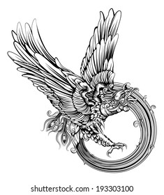 An original illustration of the legendary phoenix bird or an eagle in a dynamic woodblock style