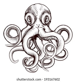An original illustration of an octopus in a dynamic woodblock style