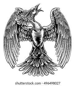 An original illustration of a phoenix fire bird in a vintage woodcut style