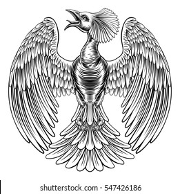 An original illustration of a phoenix fire bird or peacock in a vintage retro etched woodcut engraving style