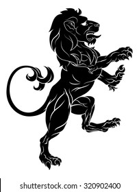 Original illustration of a rampant lion such as from a crest or coat of arms emblem standing on back legs