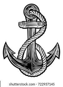 An original  illustration of a ships anchor and rope in a vintage navy tattoo style