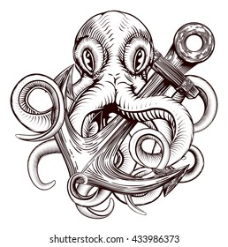 An original illustration of a tattoo of an octopus holding a ships anchor in a vintage woodblock style