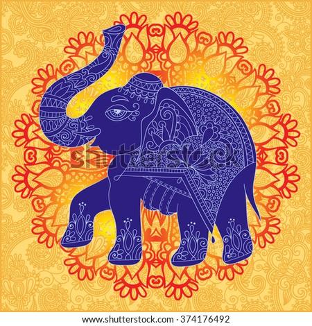 9457d16e9541 Original Indian Pattern Elephant Invitation Cover Stock Vector ...
