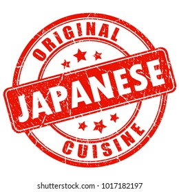Original japanese cuisine round vector stamp illustration isolated on white background