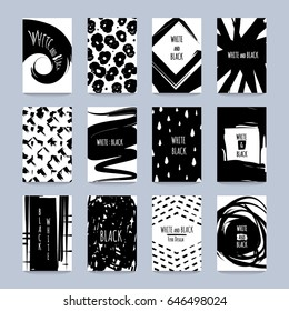 Original kit of flyers with black textured abstractions in grunge style vector