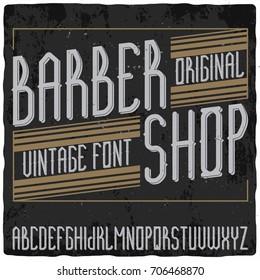 Original label font named 'Barber Shop'. Good to use in any vintage style label design.