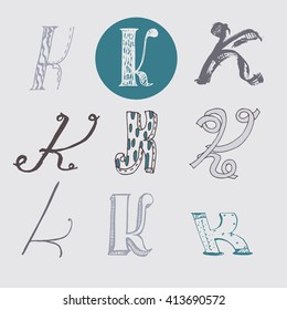 Original letters K set, isolated on light gray background. Alphabet symbols, editable, hand drawn, creative, in different variations, Italic, 3d, freehand, drawn with brush and nib vector Illustration