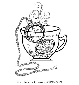 The original logo for coffee, cafe. Vector illustration with cup, coffee beans and clock. Black and white graphics. For menu design. Hand drawn.