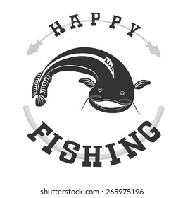 Original logo with fish for anglers and fishing enthusiasts