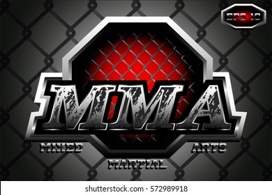 original logo mixed martial arts,metal letters,steel cage,MMA,on a dark background