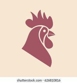 Original logo template with rooster mascot. Vector illustration