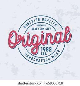 Original logo t-shirt design. Vector illustration.