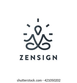 Original Meditation Yoga Minimal Symbol. Memorable Visual Metaphor. Simple, Solid & Bold Mark. Represents the Concept of Enlightenment, Zen, Relax, Insight, Healthy Lifestyle, Harmony, Reflection etc