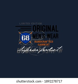 original mens wear typography graphic design, for t-shirt prints, vector illustration