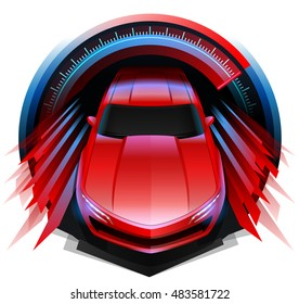 Original modern concept sports car driving fast - with abstract polygonal motion blur through Speedometer.  Speedometer shows a reading of high speed.  Top down, front view of exotic car shown.