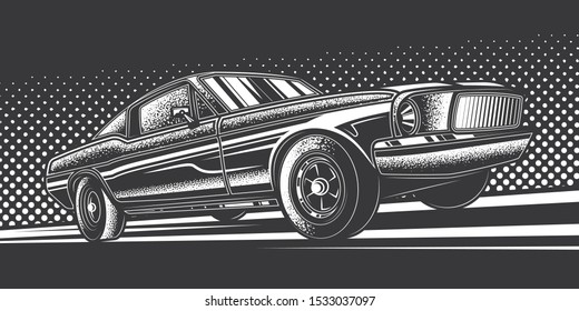 Original monochrome vector illustration. American muscle car on a bright background in the style of 80-90's