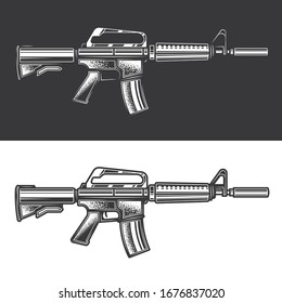 Original monochrome vector illustration of automatic weapon on black and white background.