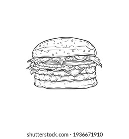 Original monochrome vector illustration of Burger with cutlet, tomatoes and greens in vintage style.