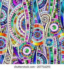 Original mosaic drawing tribal doddle ethnic pattern. Seamless background with geometric elements. Used clipping mask for easy editing.