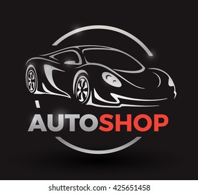 Original motor car concept design of a sports car vehicle with chrome logo silhouette auto shop on black background. Vector illustration.