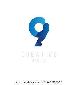 Original number 9 in blue colour for logotype. Vector sign logo design template. Flat illustration EPS10.